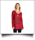 Joy Love Peace Believe Christmas - Cross Neck Long Sleeve Tunic - RED - CLOSEOUT