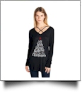 Joy Love Peace Believe Christmas - Cross Neck Long Sleeve Tunic - BLACK - CLOSEOUT