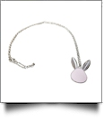 Silver-Tone Easter Bunny Medallion with Chain - LIGHT PINK - CLOSEOUT