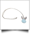 Silver-Tone Easter Bunny Medallion with Chain - LIGHT BLUE - CLOSEOUT