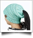 Confetti Messy Bun Pony Tail Knit Cap Beanie - AQUA - CLOSEOUT