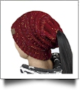 Confetti Messy Bun Pony Tail Knit Cap Beanie - WINE - CLOSEOUT