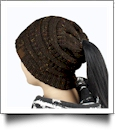 Confetti Messy Bun Pony Tail Knit Cap Beanie - DARK BROWN - CLOSEOUT