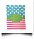 Dotty Stripes Festive Outdoor Garden Banner - AQUA/PINK - CLOSEOUT