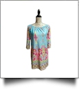 Off-Shoulder Boho Print Swimsuit Cover-Up Dress - AQUA - CLOSEOUT