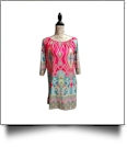 Off-Shoulder Boho Print Swimsuit Cover-Up Dress - HOT PINK - CLOSEOUT