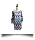 Off-Shoulder Aztec Print Swimsuit Cover-Up Dress - AQUA - CLOSEOUT