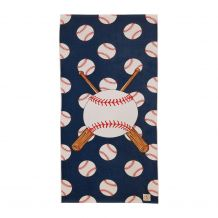 The Coral Palms® Baseball Print Hemmed Beach Towel - NAVY
