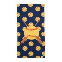 The Coral Palms® Softball Print Hemmed Beach Towel