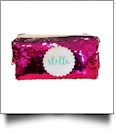 The Coral Palms® Mermaid Medallion Cosmetic Bag/Pencil Case - HOT PINK/SILVER