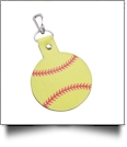Faux Leather Softball Key Chain with Clasp - CLOSEOUT