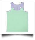 Seersucker Accent Racer Back Tank Top - MINT - CLOSEOUT