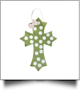 Rustic Canvas Deco Cross with Attached Bow Wall/Door Hanging - GREEN DOTS