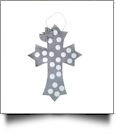 Rustic Canvas Deco Cross with Attached Bow Wall/Door Hanging - GRAY DOTS