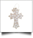 Rustic Canvas Deco Cross with Attached Bow Wall/Door Hanging - BEIGE DOTS