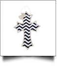 Rustic Canvas Deco Cross with Attached Bow Wall/Door Hanging - BLACK CHEVRON