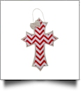 Rustic Canvas Deco Cross with Attached Bow Wall/Door Hanging - RED CHEVRON
