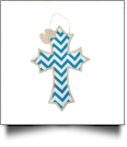 Rustic Canvas Deco Cross with Attached Bow Wall/Door Hanging - TURQUOISE CHEVRON