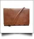 The Coral Palms® Skylar Scalloped Crossbody Convertible Clutch Purse - SADDLE BROWN