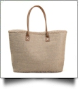 Oversized Bohemian-Style Jute Shoulder Tote - BROWN - CLOSEOUT