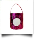 Mermaid Easter Bunny & Halloween Bucket Tote with Scalloped Medallion - HOT PINK/SILVER