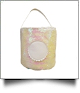 Mermaid Easter Bunny & Halloween Bucket Tote with Scalloped Medallion - LIGHT PINK/WHITE