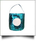 Mermaid Easter Bunny & Halloween Bucket Tote with Scalloped Medallion - AQUA/PURPLE