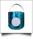 Mermaid Easter Bunny & Halloween Bucket Tote with Scalloped Medallion - AQUA/BLUSH