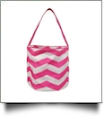 Monogrammable Easter Basket & Halloween Bucket Tote - HOT PINK CHEVRON