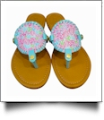 EasyStitch Medallion Sandals - CORAL - CLOSEOUT