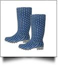 "13.5"" Women's Rain Boots - BLUE POLKA DOT - CLOSEOUT"