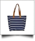 Molly Striped Canvas Beach Tote Bag - NAVY - CLOSEOUT