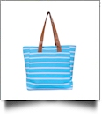 Molly Striped Canvas Beach Tote Bag - AQUA - CLOSEOUT