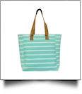 Molly Striped Canvas Beach Tote Bag - MINT - CLOSEOUT