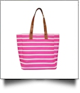 Molly Striped Canvas Beach Tote Bag - HOT PINK - CLOSEOUT