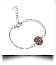 Silver-Tone Adjustable Bracelet with Iridescent Medallion - ANTIQUE PINK - CLOSEOUT