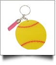 Acrylic Sports Key Chain with Tassel - SOFTBALL - CLOSEOUT