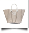 Grace Linen Handbag with Faux Leather Trim & Accent Chain  - WHITE - CLOSEOUT