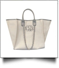 Grace Linen Handbag with Faux Leather Trim & Accent Chain  - GRAY - CLOSEOUT