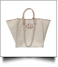 Grace Linen Handbag with Faux Leather Trim & Accent Chain  - BLUSH - CLOSEOUT