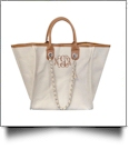 Grace Linen Handbag with Faux Leather Trim & Accent Chain  - CAMEL - CLOSEOUT