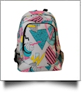Rad Shapes Print Backpack Embroidery Blanks - BLACK TRIM - CLOSEOUT