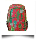 Coral Cactus Print Backpack Embroidery Blanks - GREEN TRIM - CLOSEOUT