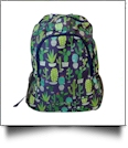 Navy Cactus Print Backpack Embroidery Blanks - NAVY TRIM - CLOSEOUT