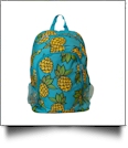 Pineapple Print Backpack Embroidery Blanks - TURQUOISE TRIM - CLOSEOUT