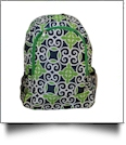 Swirl Print Backpack Embroidery Blanks - GREEN TRIM - CLOSEOUT
