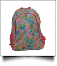 Green Paisley Print Backpack Embroidery Blanks - HOT PINK TRIM - CLOSEOUT