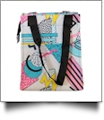 Rad Shapes Print Lunch Tote/Beverage Cooler Bag Embroidery Blanks - BLACK TRIM - CLOSEOUT