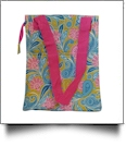 Green Paisley Print Lunch Tote/Beverage Cooler Bag Embroidery Blanks - HOT PINK TRIM - CLOSEOUT