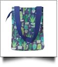 Navy Cactus Print Lunch Tote/Beverage Cooler Bag Embroidery Blanks - NAVY TRIM - CLOSEOUT